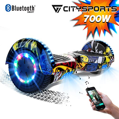 CITYSPORTS Hoverboard 6.5 Pouces Hover Board Bluetooth, Gyropode Self-Balance Board Moteur 700W avec Roues LED...
