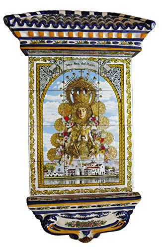 Rustiluz Azulejo de la Virgen del Rocío, Mosaico de cerámica y tejadillo Grande