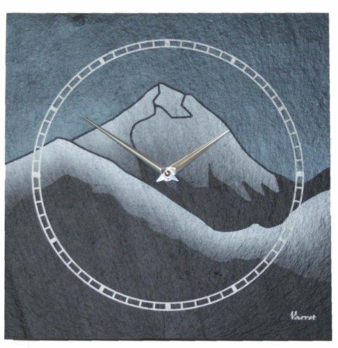 Vaerst 1168 Wanduhr Schiefer Airbrushdesign Mount Everest 30 cm x 30 cm