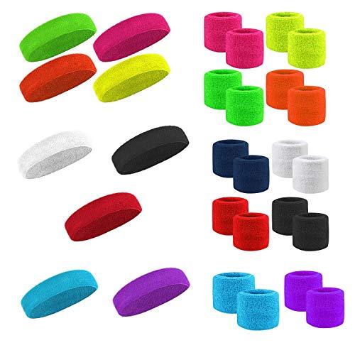 Kinder Schweissband-Stirnband + 2x Armband SET Kopfband NEON und andere Farben (neon pink)
