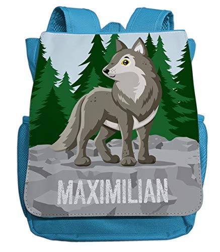 Kleiner Rucksack für Kindergarten mit Namen | Motiv Wolf & Wald | viele Fächer Brustgurt Kinderrucksack inkl. Wunschname | ideal für Kita- und Kindergartenkinder von 2-5 Jahre (hellblau)