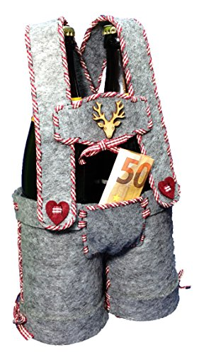 Petra's knutsel-News bierfleshouder, lederen broek incl. vilten onderdelen (gemengd grijs), houthert, ruiten (rood geruit) en naald naaiset, Fliz, grijs, 25 x 18 x 5 cm