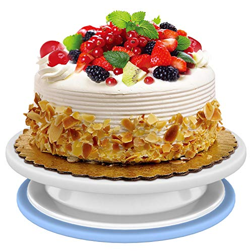 Momugs 9-11 Inch Rotating Cake Turntable Revolving Cake Stand Icing Smoother Anti-slip rotation White Baking Cake Multifunctional Serving Platter for Kitchens
