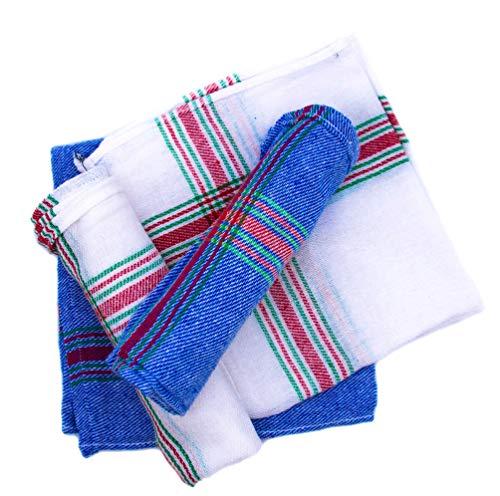 Montflé Paños de Cocina-Trapos Cocina-Toallas Cocina- Hogar y Cocina Paños de Cocina algodón Ultra absorventes Juego de 4 [Blanco y Azul a Rayas] 43cmx43cm