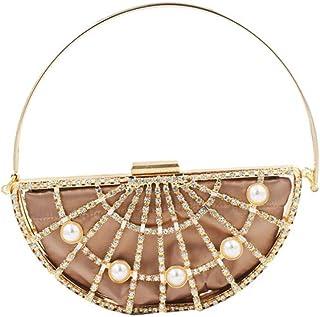 Trendy generous super cute European And American Fashion Hollow Metal Half Pearl Diamond Personalized Handbag Banquet Bag ...