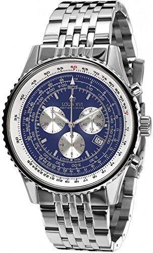 LOUIS XVI Herren-Armbanduhr Artagnan Stahlband Silber Blau Chronograph Analog Quarz Edelstahl 581