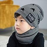 Xme Wintermütze für Herren, Fünfsternmütze aus Wolle, warm gestrickte Eltern-Kind-Mütze