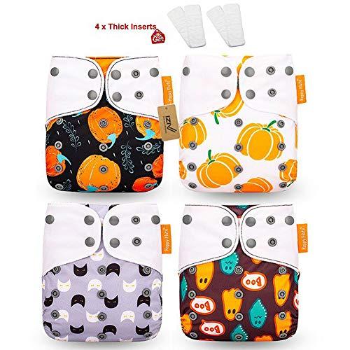 iZiv 4 Pack Naissances Bébés avec 4 Epais Insert Imperméable Réglable Réutilisable Lavable Poche Couches Lavables pour Bébés 0-3 ans