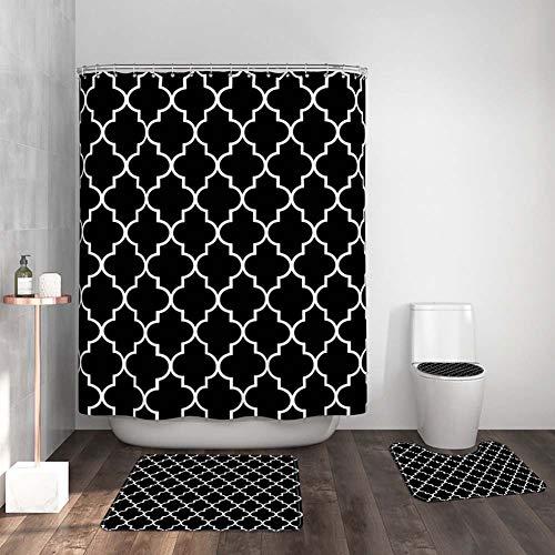 ETOPARS European Geometric Badezimmer Duschvorhang Teppich Set 4 Stück Weiche & rutschfeste Badematte, U-förmiger Kontur Teppich, Toilettendeckelabdeckung 72 x 72 Zoll, Schwarz