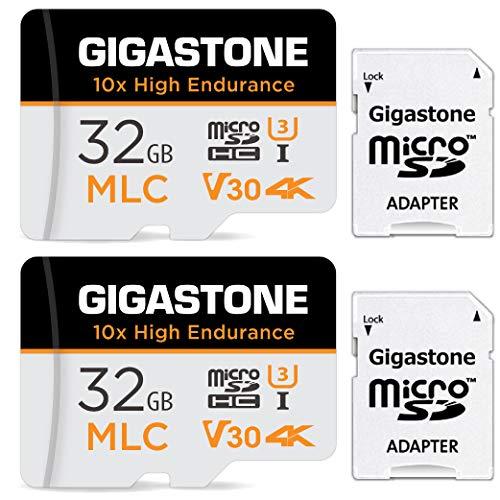 Gigastone 32GB MLC Tarjeta de Memoria Micro SD, Paquete de 2, grabación de Video 4K de Alta Resistencia 10x, Cámara de Seguridad, Cámara de vigilancia, Cámara de Tablero Compatible 95MB/s, U3 C10