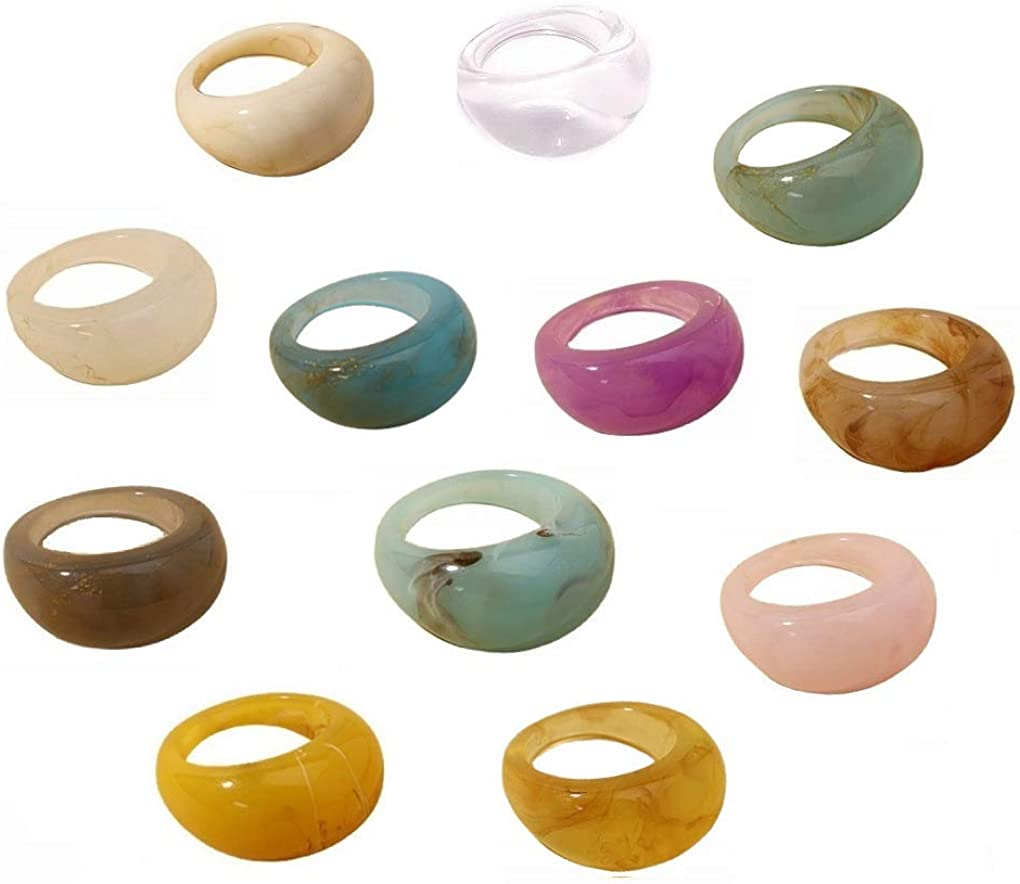 12 pcs Colorful Resin Rings Wide Thick Dome Knuckle Finger Stackable Joint Ring Retro Acrylic Transparent Vintage Jewelry Party Elegant Handmade Gift (Size 6-8)