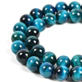 Nancybeads Natural Gemstone Round Spacer Loose Beads for Jewelry Making 15.5' 1 Strand 6mm 8mm (Aquamarine Tiger's Eye, 8mm 45Beads)