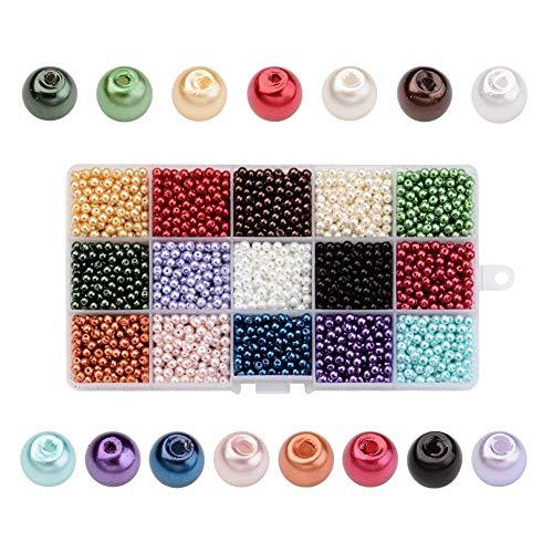 PandaHall - 3600 Pcs 15 Couleurs Perle en Verre Perles Rondes Perles Nacrées Teint pour DIY Fabrication de Bijoux Collier Bracelet, 4mm, Trou: 0.8mm