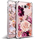 Case for Samsung Galaxy J7 2016, Galaxy J7 J710 for Girls N Women Clear with Red Cute Flower Design Shockproof Bumper Protective Cell Phone Cases Flexible Fit Soft Rubber Red Pink Rose Floral Covers