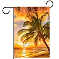 春夏両面フローラルガーデンフラッグウェルカムガーデンフラッグ(12x18in)庭の装飾のため,サンライズビーチ