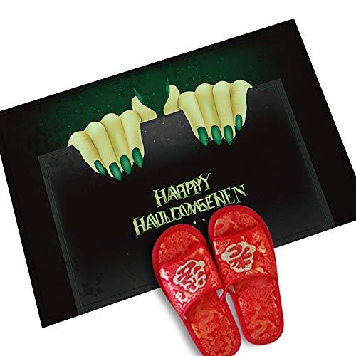 C/N 1 felpudo de Halloween para interior o exterior, alfombrilla de bienvenida creativa para Halloween, decoración del hogar, alfombrilla para puerta delantera (monstruo de mano verde)