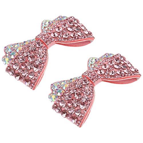 Holibanna Pedrería Arco Zapato Clips Cristal Bowknot Parches Apliques Sombrero Vestido Zapatos Clip Zapatos Ropa Decoración para Boda Rosa