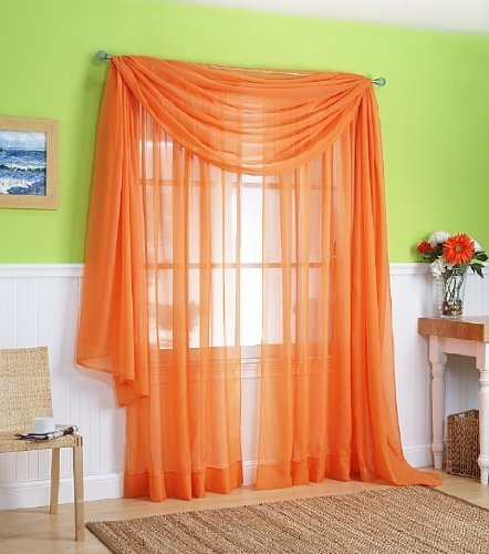 """3 Piece Sheer Panel (2 Pieces 58"""" x 84"""") and Scarf Window (1 Pieces 37"""" x 216"""") Curtain Combo Set (Orange)"""