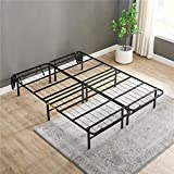 Classic Brands Hercules Heavy-Duty 14-Inch Platform Metal Bed Frame with Universal Headboard Attachment | Mattress Foundation, Queen, Black