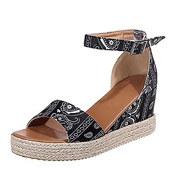 Nihewoo Sandals for Women Dressy Summer Women s Buckle Strap Wedges Sandals Beach Open Toe Breathable Sandals Black