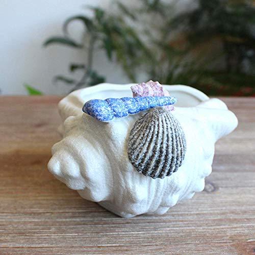 BGHYU Jarrón de Flores de Concha de Concha de Estrella de mar de cerámica, Plato de joyería para Dulces, decoración del hogar, estatuilla de Porcelana, decoración de Boda