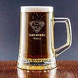 Calledelregalo Regalo Personalizado para Padres: Jarra de Cerveza 'Superpadre' grabada con su Nombre