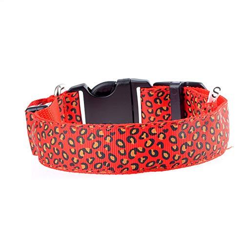 TWQ Collar de Mascotas, Collar LED con función Luminosa, Anti-perdida, Adecuada para Perros Grandes, medianos y pequeños Red-L
