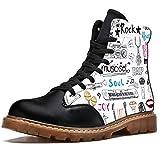 Bennigiry Music Items Doodle Icons Set Botas de Invierno Zapatos clásicos de Lona de caña Alta para Mujer