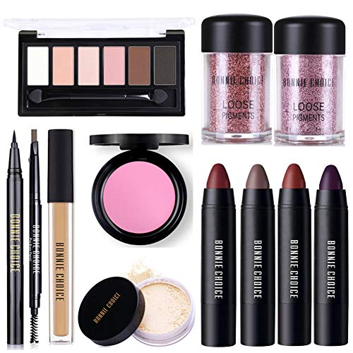 BONNIE CHOICE 12 PCS Makeup Kits for Women, Makeup Set for Beginners, Includes Eyebrow Pencil,Eyeliner Pen,Loose Pigment Eyeshadow,Eyeshadow Palette,Liquid Concealer,Loose Power,Blush,Lipsticks