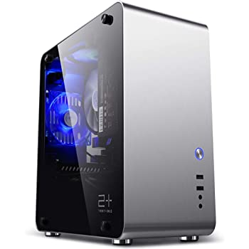 GOLDEN FIELD M3S ITX Mini Computer PC Case with Tempered Glass Side Windows Aluminium Silver