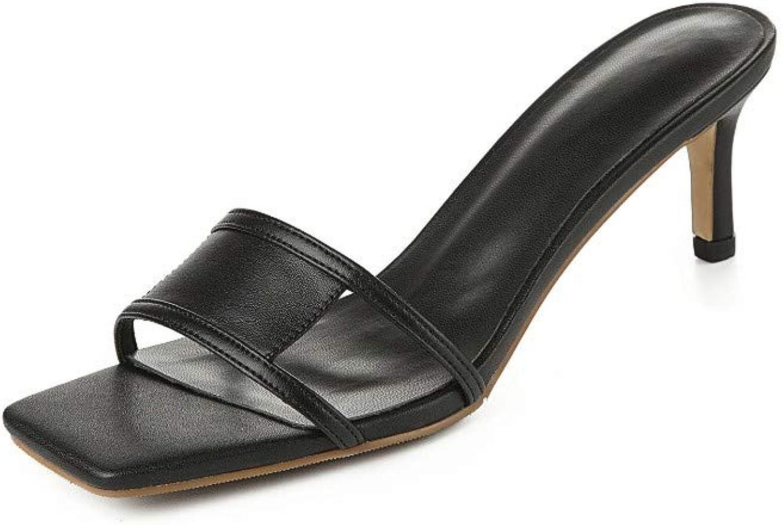 GWStiefel Sandalen Für Damen,SchwarzNatürlicher Leder-Vintage-Minimalismus Stiletto-Schuhe Offene Spitze Slip-OnWild Fashion Casual Elegante Damen Sommer Outdoor-Schuhe