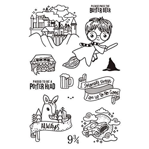 ECMQS Schloss Reiten Besen Junge DIY Transparente Briefmarke, Silikon Stempel Set, Clear Stamps, Schneiden Schablonen, Bastelei Scrapbooking-Werkzeug