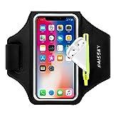 Brazalete Deportivo para Correr con Bolsa de Airpods, Brazalete Móvil Deportivo Ajustable para iPhone 12 11 Pro XS MAX XR X, Galaxy S10 Plus/S10e, hasta 6,5' (Negro)