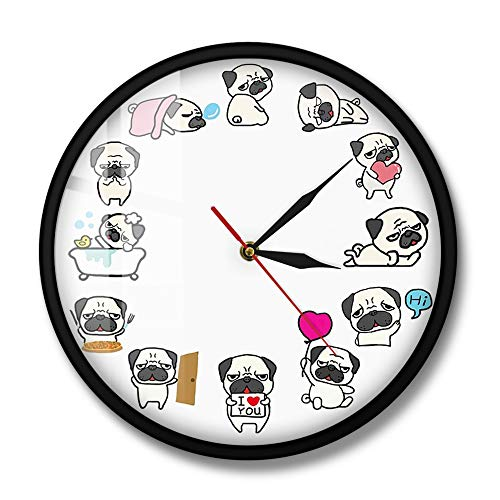 CDNY Cartoon pug dog daily life wall clock dog lover home decoration non-wall clock dog breed pet shop wall hanging art clock 12 inches with frame