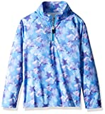 Spyder Girls' Bitsy Limitless Star Stripe Half Zip T-neck Shirt, Stargazer Blue Ice Print/Blue Ice, Size 5
