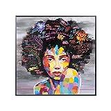 NOBRAND Chica Africana Moderna Graffiti Arte De La Pared Pinturas sobre Lienzo Chica con Palabras Arte Callejero Carteles E Impresiones Imágenes De La Pared Habitación De Los Niños