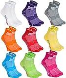 Rainbow Socks - Hombre Mujer Calcetines Deporte Colores de Algodón - 9 Pares - Multicolor - Talla...