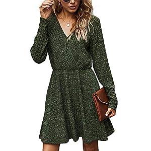 Women's V Neck Long Sleeve Casual Mini Dress Ribbed Knitted Fall Winter High Waist Flowy Wrap A Line Dresses