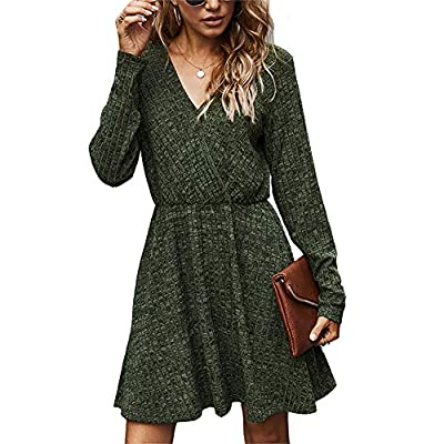 Women's V Neck Long Sleeve Casual Mini Dress Ribbed Knitted Fall Winter High Waist Flowy Wrap A Line Dresses