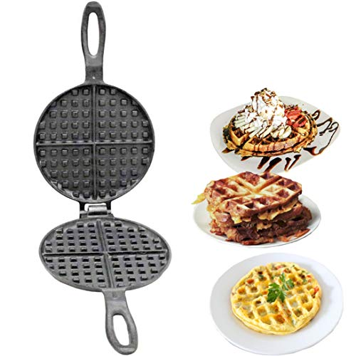 Vintage Gourmet  Authentic Pre-Seasoned Cast Iron Round Waffle Maker -17cm Dia Traditional2 part - Oven Safe breakfast gadget is like a panini press, mini grill, and toaster oven all rolled into one