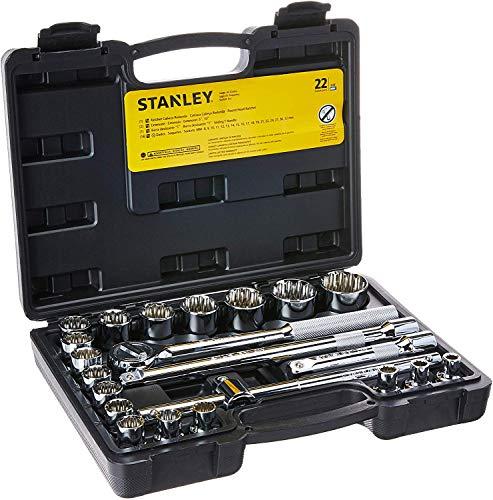 Stanley, Jogo de Soquetes 1/2' com 22 Peças 8 a 22mm