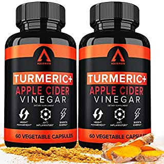 Turmeric Curcumin Capsules Bioperine 1650mg Supplements with Apple Cider Vinegar Black Pepper Ginger Extract, Tumeric Orga...