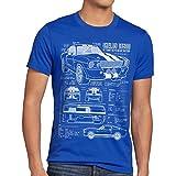 style3 GT500 Dessin Bleu Homme T-Shirt, Taille:2XL, Couleur:Bleu