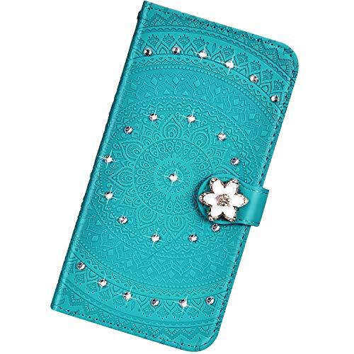 Urhause Kompatibel mit Xiaomi Redmi Note 7,Mandala Prägung Glitzer Ledertasche PU Flipcase Handytasche Ständer Mit Magnetverschluss Schlüsselband Schutzhülle,Grün