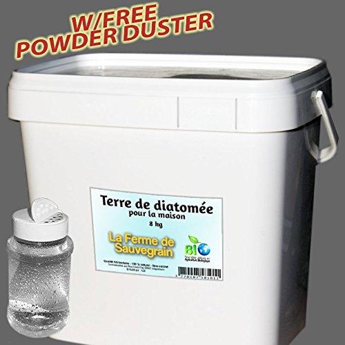La Ferme Sauvegrain Terre de Diatomée pour Punaises de lit Fourmis Cafards et Araignées - Traitement Naturel - 8kg + poudreur Offert