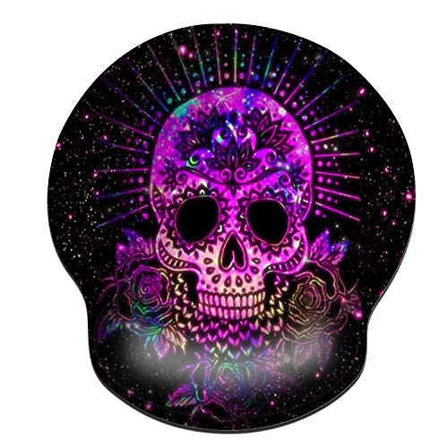 ZYCCW Mouse pad with Wrist Support, Purple Sugar Skull Mouse pad Ergonomic Pain Relief Mouse Pad with Gel Wrist Rest Gaming Mouse Pad with Stitched Edges Non-Slip Rubber Base Mouse Mat for Computer