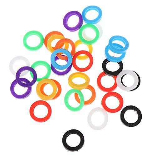 XVCHQIN Schlüsselmäppchen für 32pcs mischte Farben-Hohle Gummischlüssel-Abdeckungen runden weichen Silikon-Schlüssel-Verschluss-Kappen-elastischen Mehrfarbenschlüsselring-Kasten, A