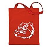 Kiwistar Símbolo de bulldog - Perro luchador Bolsa de yute - Proverbios impresos que contan modelos Bolsa de fitness con forma de bolsa de algodón colgada en un mango largo Rojo Size: 30cm