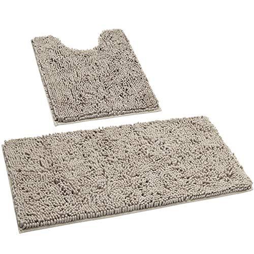 HOMEIDEAS 2 Pieces Bathroom Rugs Set Taupe, Ultra Soft Non Slip Bath Rug, Absorbent Chenill…