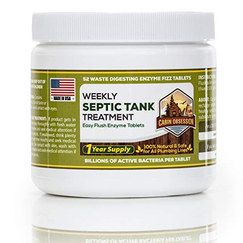 52 Weekly Septic Tank Treatment Fizz Tablets – Easy Flush Bio Toilet Tabs with Billions of Active Bacteria per Tablet – 1 Year Supply - 100% Natural & Safe for All Plumbing & Drain Lines